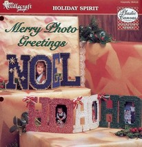 Merry Photo Greetings Noel Ho. Ho, Ho Photo Frames Plastic Canvas Patter... - $1.32