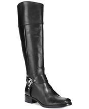 Michael Kors Fulton Harness MK Logo Black Riding Tall Knee Boots Shoes 6... - $199.99