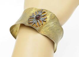 925 Sterling Silver - Vintage Petite Carnelian Gold Plated Cuff Bracelet... - $88.26
