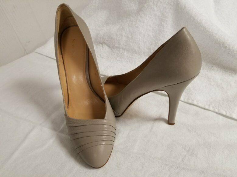 """Nine West Women's Leather Size 8.5 Beige stiletto Shoes Pump 4.5""""Heel Footwear"""