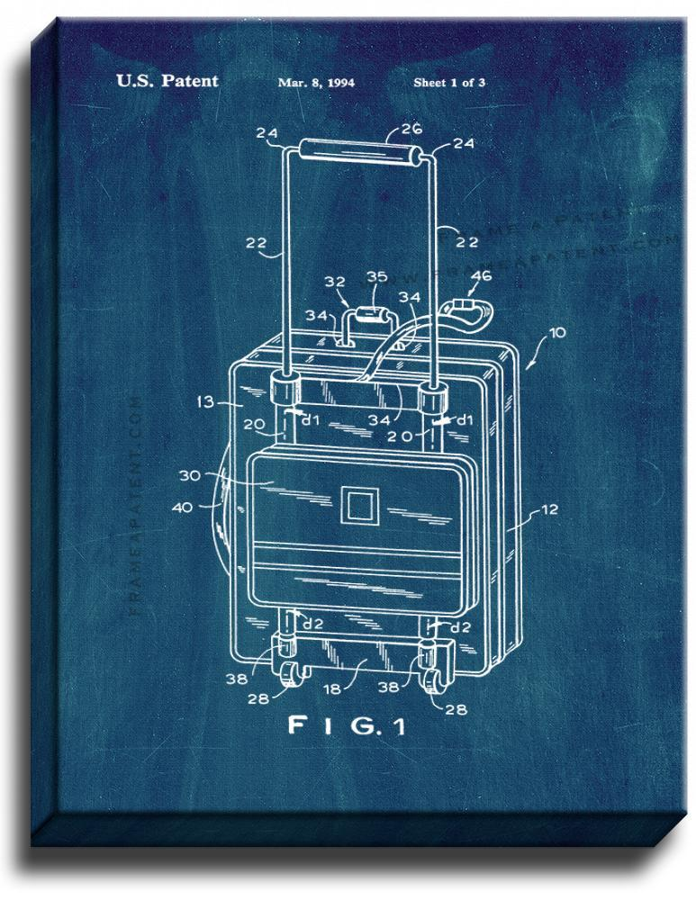 Primary image for Suitcase Patent Print Midnight Blue on Canvas