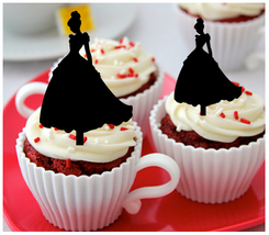 Ca437 Decorations cupcake toppers cinderella wedding dress silhouette : 10 pcs - $10.00