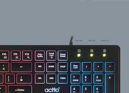 Actto Korean English USB Wired Keyboard LED Backlight Membrane Keyboard (Black) image 3