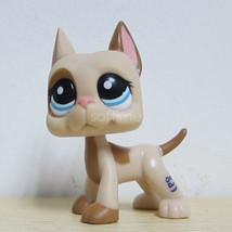 Littlest Pet Shop Great Dane Puppy Dog Caramel Cream Tan Brown Blue Figu... - $16.97