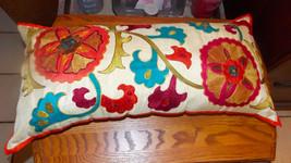 Blue Burgundy Cream Pillow / Decorative Pillow  26 x 12 - $49.95
