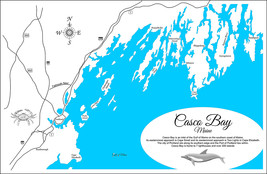 Casco Bay, Maine - Wood Laser Cut Map - Wall Hanging - €233,57 EUR+