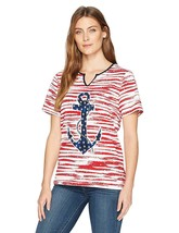 Alfred Dunner Women's Petite Anchor Stripe Knit Top Red, PM 4541-3 - $21.29