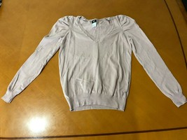 Women's H&M Pink Pullover V-Neck Sweater Top Size S Small Cotton Blend - $9.89