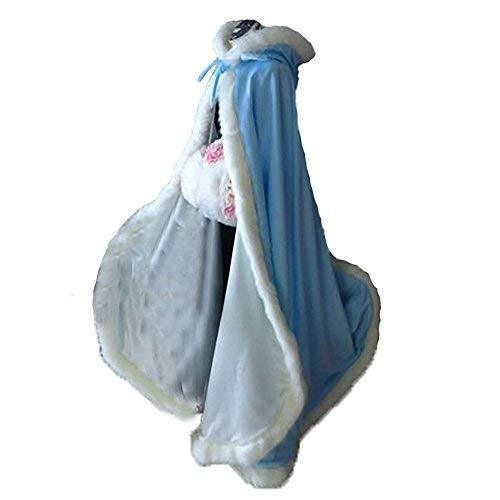 Primary image for Sky Blue Long Wedding Cloak with Hooded Cape Winter Fur Trim and Hand Muff 55 In