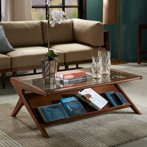 "Ink + Ivy ""Mid century Modern Style"" Wood & Glass Rocket Coffee Table - $398.00"