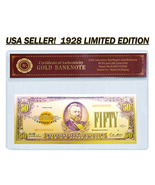 24K .999 Gold 1928 $50 Dollar Gold Cert Banknote with COA (Cert of Authe... - $4.99