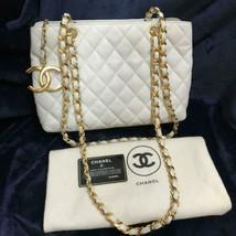 Auth CHANEL Matelasse Vintage White Lambskin Chain Shoulder Bag USED B0058 - $1,178.10