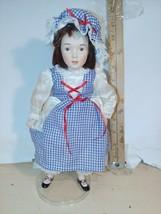 "Vintage 1990's Danbury Mint 12"" Porcelain Doll Dorothy? W/stand - $4.00"