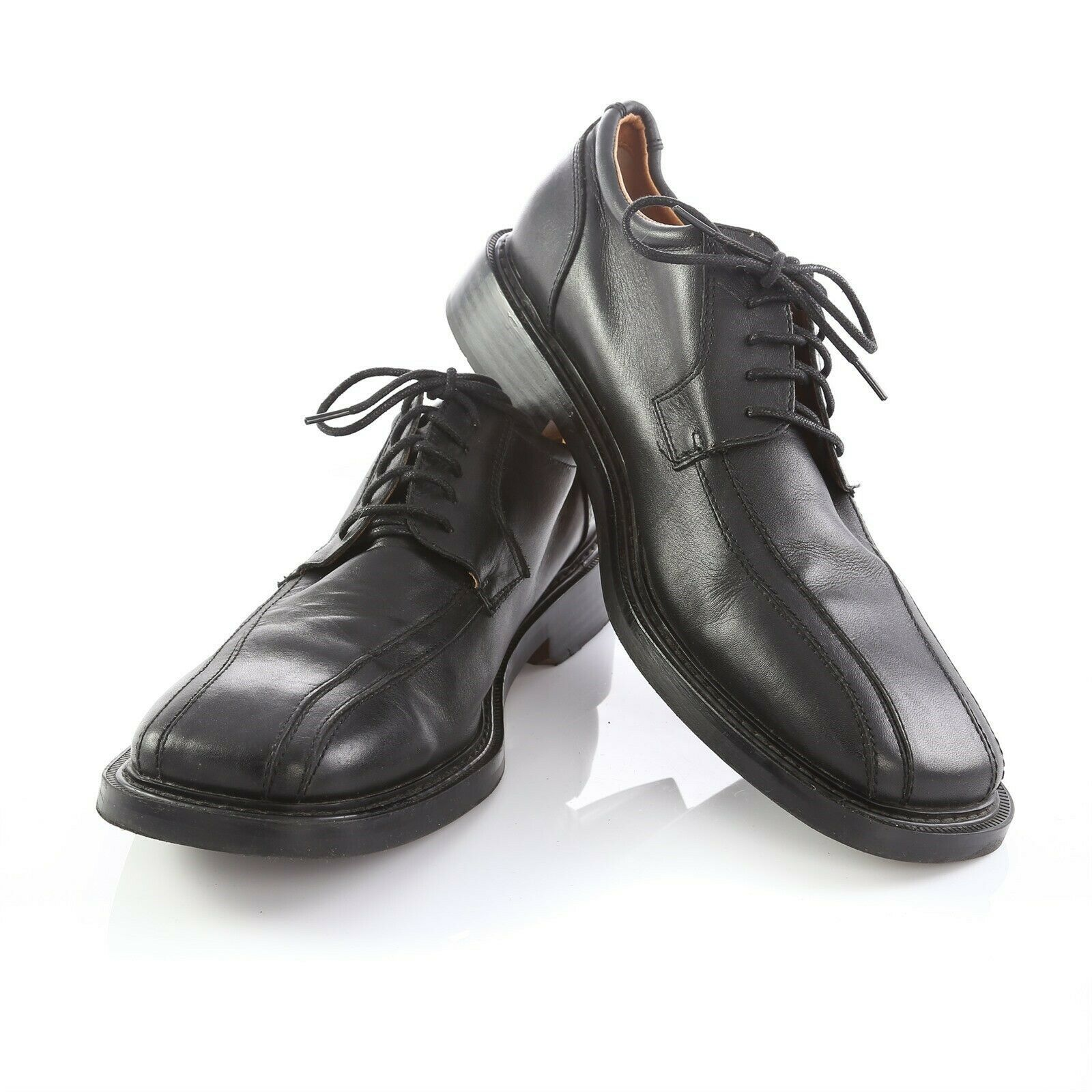 Skechers Collection Black Leather Bicycle Toe Derby Oxford Shoes Mens 12 - $39.52