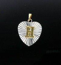 "Vintage .925 Sterling Silver Signed NV 1"" Gold Tone Heart H Monogram Cha... - $14.34"