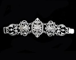 """Vintage Victorian Revival Gothic Gargoyal Lion Ornate Heavy Link Bracelet 7.5"""" image 2"""