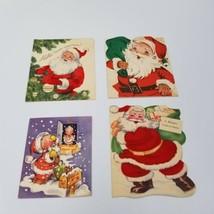 4 Christmas Cards Vintage Santa Claus Flocked Gibson Mid Century Hand Written - $24.55