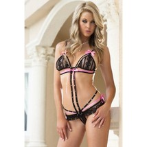 VOLUPTUOUSLY SHEER STRAPPY TEDDY CONTRASTING RIBBONS & BOWS RHINESTONE D... - $18.80