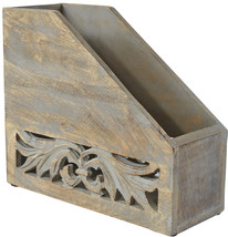 Indian Heritage Magazine Holder 10.5X12.5 Carved Wood Design In Grey Dis... - $49.70