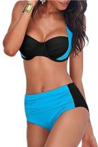 Windowpane Push Up Padded Halter Bikini Large (L) Swimsuit Blue / Black