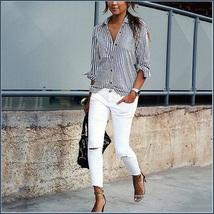 Causual Blue Stripe Cotton Shirt Button Down Long Cuff Sleeve Turn Down Collar  image 2