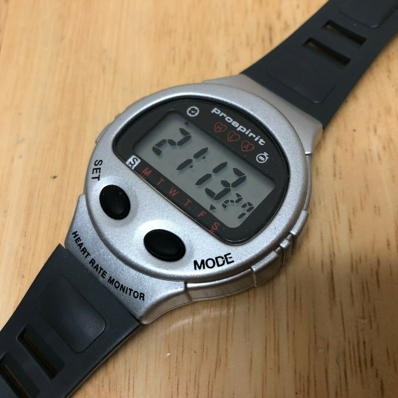 Vintage Prospirit Mens Silver Digital Heart Rate Chrono Watch Hours~New Battery