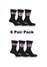 6 Pair Mens Cotton England Suit Socks With Flag Black T4 *Multipack* - $9.45