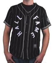 Hall Of Fame Black House Wool Blend Knit Button Up Baseball Jersey Shirt