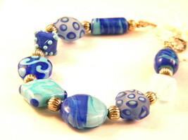 Shades of Blue Lampwork Glass Bead Bracelet - $17.99