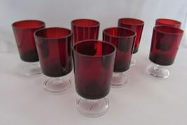 "8X Arcoroc Luminarc France Ruby Red 2-3/4"" Tall Clear Stem Liqueur Shot ... - $22.99"