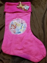 "NEW Disney Princess Christmas Holiday Stocking Pink and White 15"" Long - $5.50"