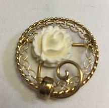 Vintage Signed Carl Art 12K Gold Filled Carved Rose Circle Pin Brooch - $28.96