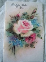 Vintage Coronation Collection Pink Rose Birthday Wish Card 1960s - $2.99