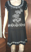 Forever 21 Twenty One  black Transluced Beaded Dress top eyelet  Sz M - $14.01