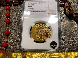 MEXICO 1715 8 ESCUDOS NGC 45 PIRATE GOLD COINS SHIPWRECK TREASURE COB CO... - $13,950.00