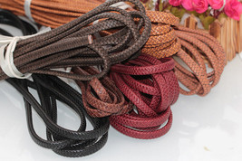 Flat Braided Leather Rope Cords DIY Bags Jewelry necklace Bracelet Craft... - $14.90