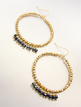 UNIQUE Urban Anthropologie Gold Beads Hematite Crystals Circular Dangle Earrings - $17.99