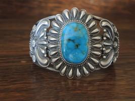 Navajo Sterling Silver Kingman Turquoise Bracelet by Rick Martinez size ... - €472,83 EUR