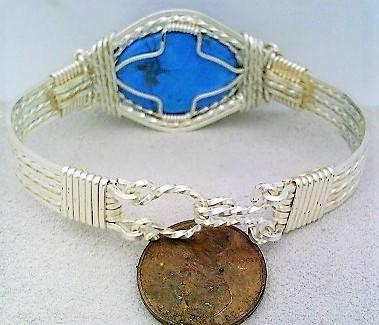 Turquoise Howlite Silver Wire Wrap Bracelet Sz. 6