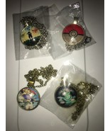 Lot of 4 Pokemon Go Necklaces Glass Art Pendant Gift  Color Detailed Pack - $15.83