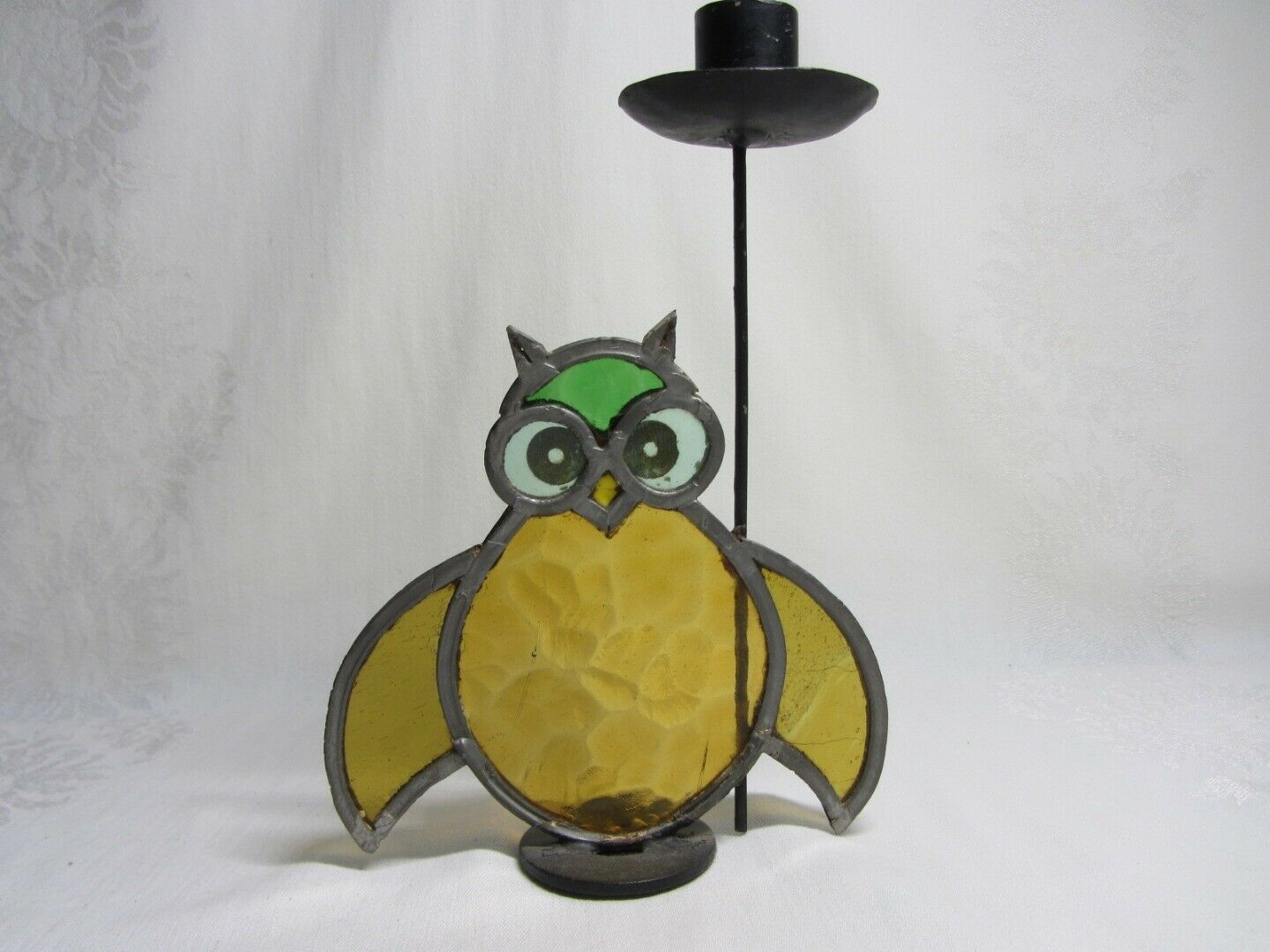 Pair Vtg Stained Leaded Glass Owl Bird Candlestick Candle Holders Rustic 70s