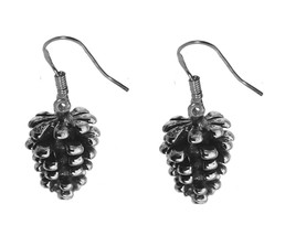 3D PInecone Forest  Tree Nature Real sterling silver 925 Earrings Jewelr... - $28.41