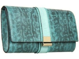 "VINCE CAMUTO BLUE SNAKE PRINT Leather ""LUCY"" Clutch NWT $148.00 - £48.84 GBP"