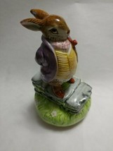 Beatrix Potter Hand Painted SCHMID Old Mr Bunny Musical Music box vintage  - $48.99