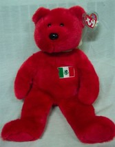 Ty Beanie Buddy Osito The Red Teddy Bear With Mexican Flag Stuffed Animal New - $19.80