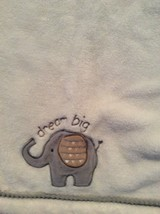 Just Born Dream Big Cream Ivory Off White And Gray Elephant Baby Blanket... - $29.69