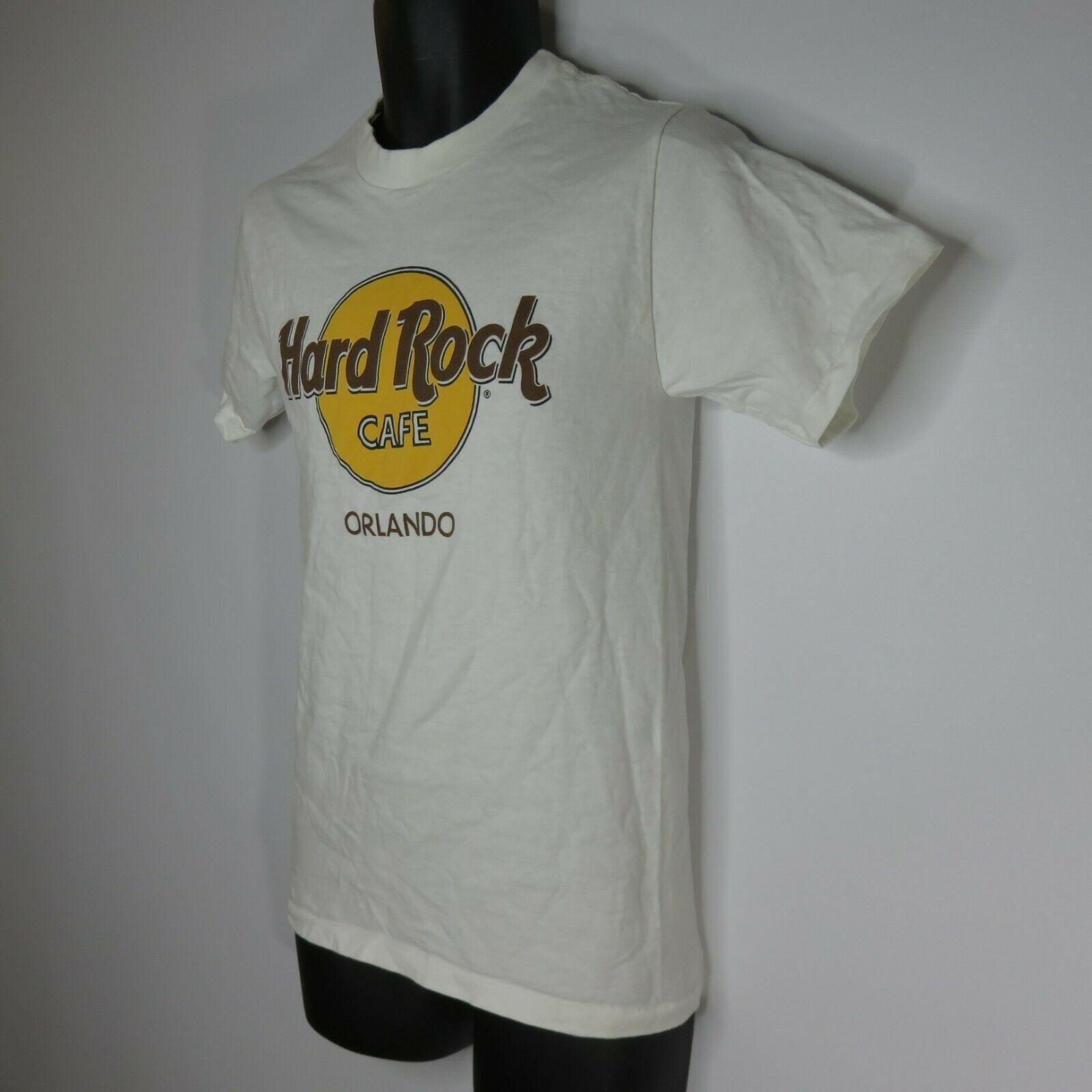 Vintage 80s HRC Hard Rock Cafe S White TShirt Orlando Original Logo