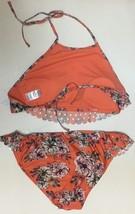 Time & Tru Two Piece Swimsuit Coral Floral Top Sz L (12-14), Bottom Sz M (7-8) image 5