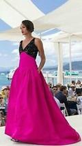 $9K New Stunning Oscar De La Renta Margenta Blk Bead Silk Gown Dress Runway 6 - $2,195.00
