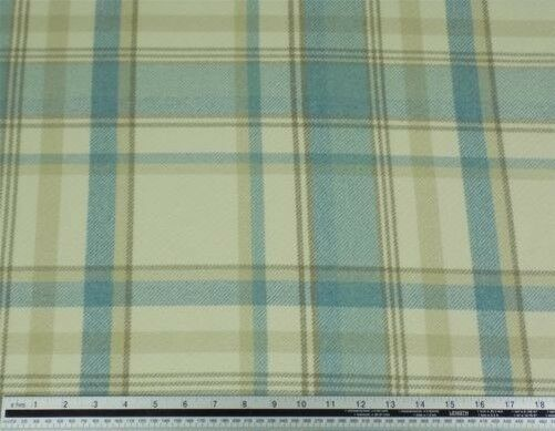 Tartan Check Wool Look and Feel Blue Cream Upholstery Fabric Material 3 Sizes